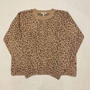 Joie Leopard Print Knit Sweater, Light Taupe